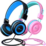 [2 Pack] iClever Kids Headphones with Microphone - Safe Volume Limited 85dB/94dB, On-Ear Wired Headphones for Kids Boys Girls
