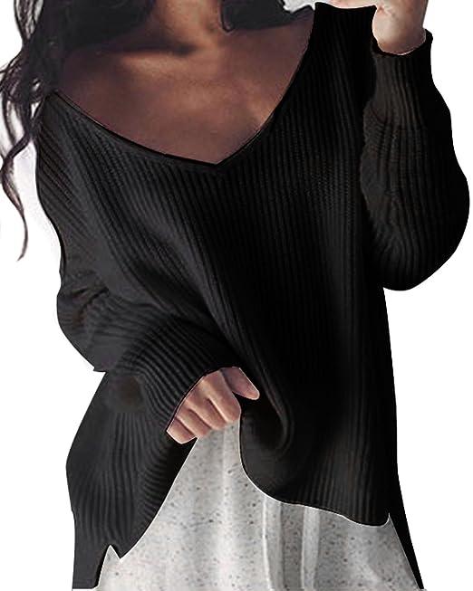 StyleDome Mujer Suéter Jersey Invierno Suelto Escote Pico Elegante Mangas  Largas Oficina Croché  Amazon.es  Ropa y accesorios cb8436db2f7c