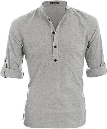 Allegra K Hombre Cuello Mao Mangas Enrolladas Brezo Henley Camisa: Amazon.es: Ropa y accesorios