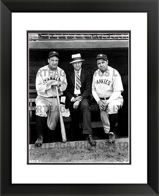 Legends Never Die New York Yankees Lou Gehrig and Babe Ruth Portrait Framed Photo Collage 11x14-Inch