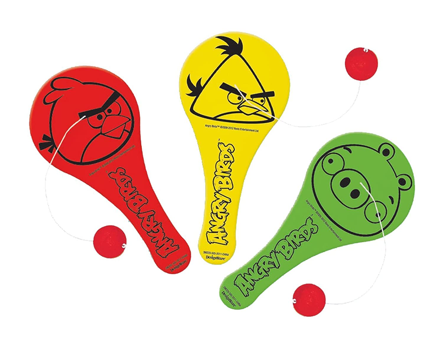 Amscan Fun-Filled Angry Birds Birthday Party Paddle Ball Favor, Multicolor, 7 1/2