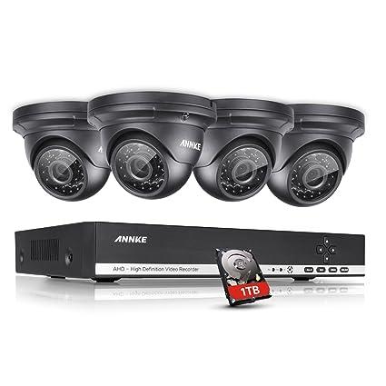 annke Vigilancia 4 CH 720P AHD DVR Grabadora Videovigilancia con 4 x 720p Dome cámaras de