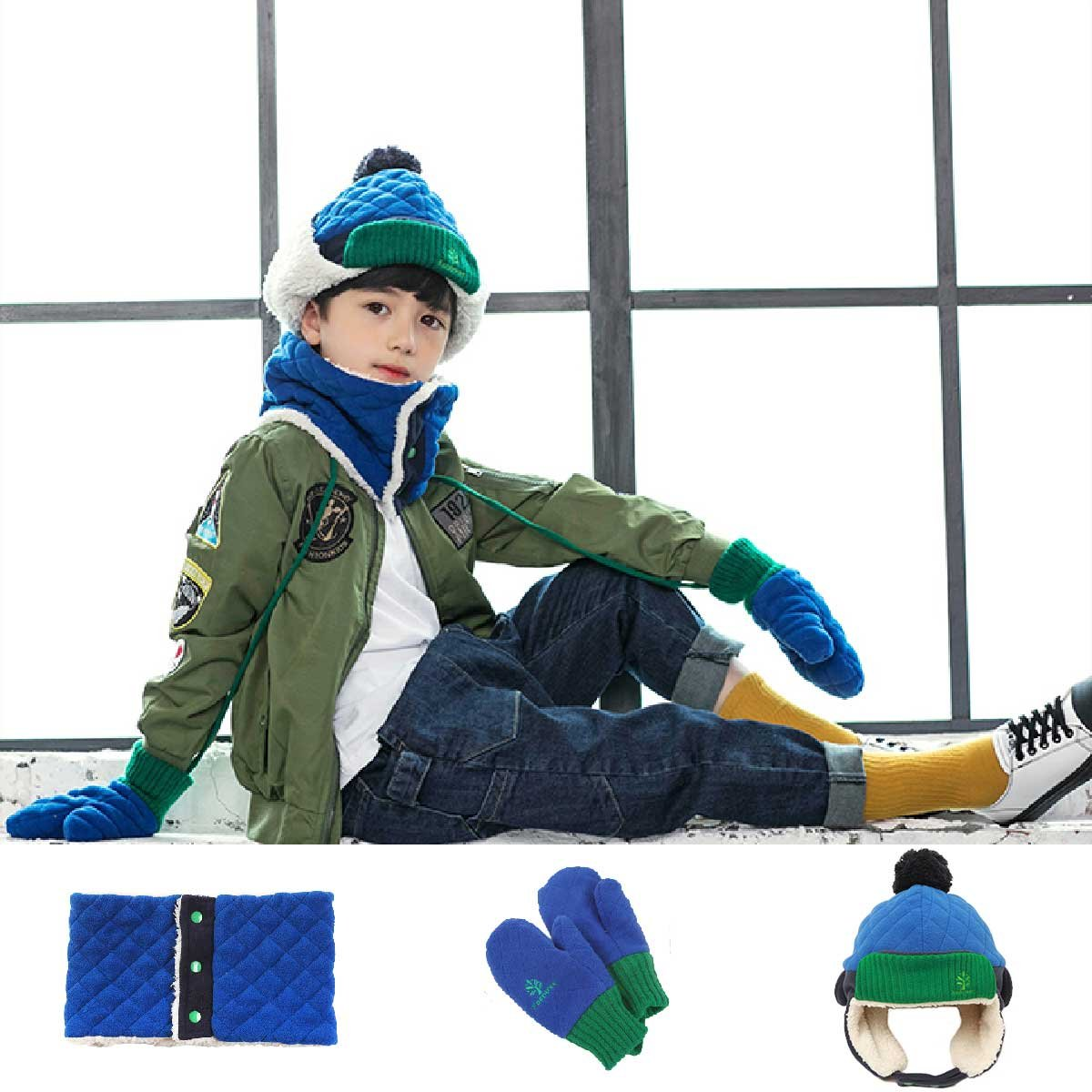 , Navy Blue Triwonder Little Boys Girls Toddlers Winter Warm Fleece Flap Hat Scarf Mittens Set M 1-5 years old