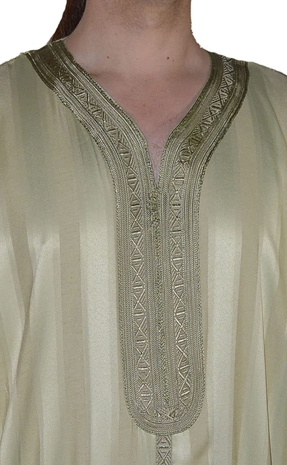 Moroccan Men Clothing handmade Caftan Gandoura With Tread Embroidery One Size