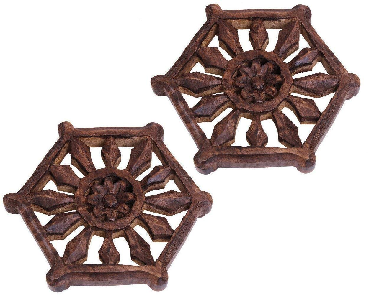 storeindya Trivet Kitchen Hot Dishes Dining Table Accessories Floral Painted Mango Wood Kitchen Tools Gadgets (Brown) (Design 3)