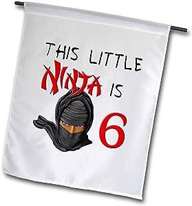 3dRose Macdonald Creative Studios – Birthdays - This Little Ninja is 6 a Great Birthday Ninja Gift for Any Kid Party - 12 x 18 inch Garden Flag (fl_318305_1)