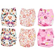 Newborn Cloth Diaper 6-Pack Covers With Inserts (Girl)