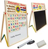 Magnetic Standing Easel ,Xben Double Sided Kids Drawing Board, Chalkboard, Dry-Erase Board, and 51 pcs Letter and Number Magnets