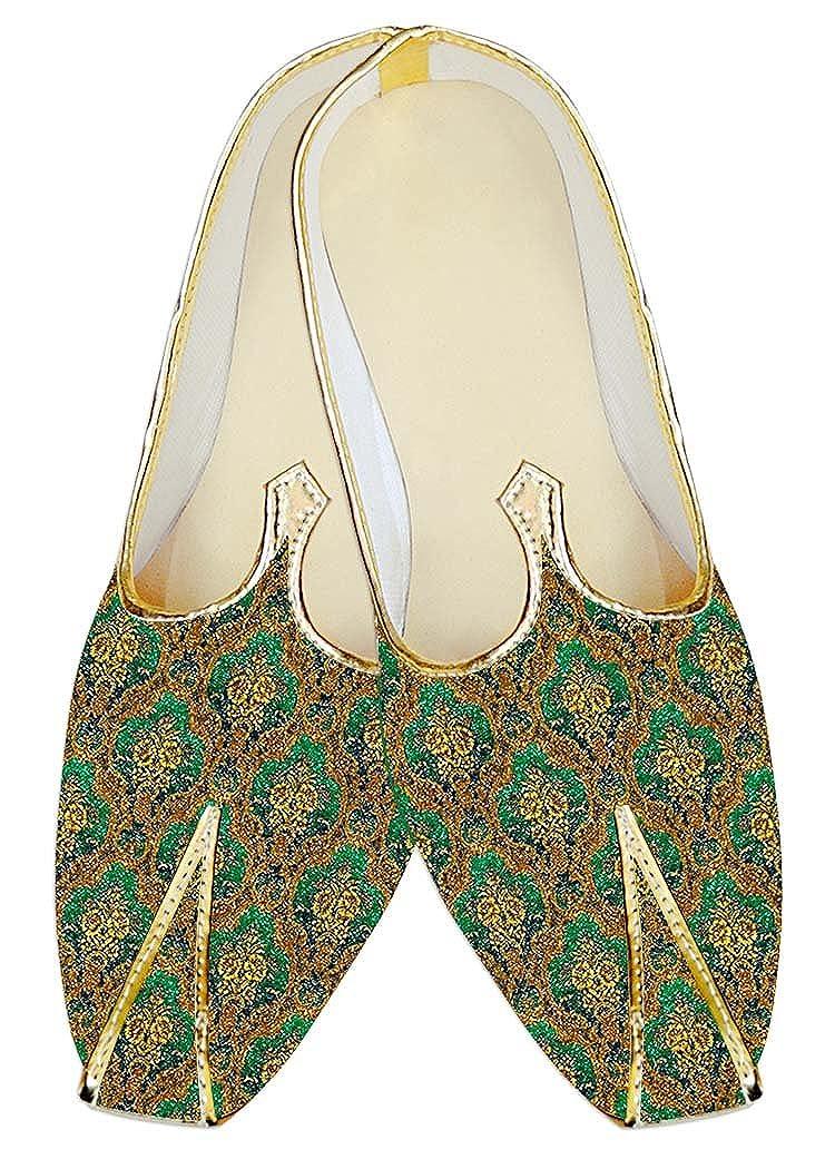INMONARCH Seda de Yute de Color Esmeralda Hombres Zapatos de Boda MJ18266 37 EU