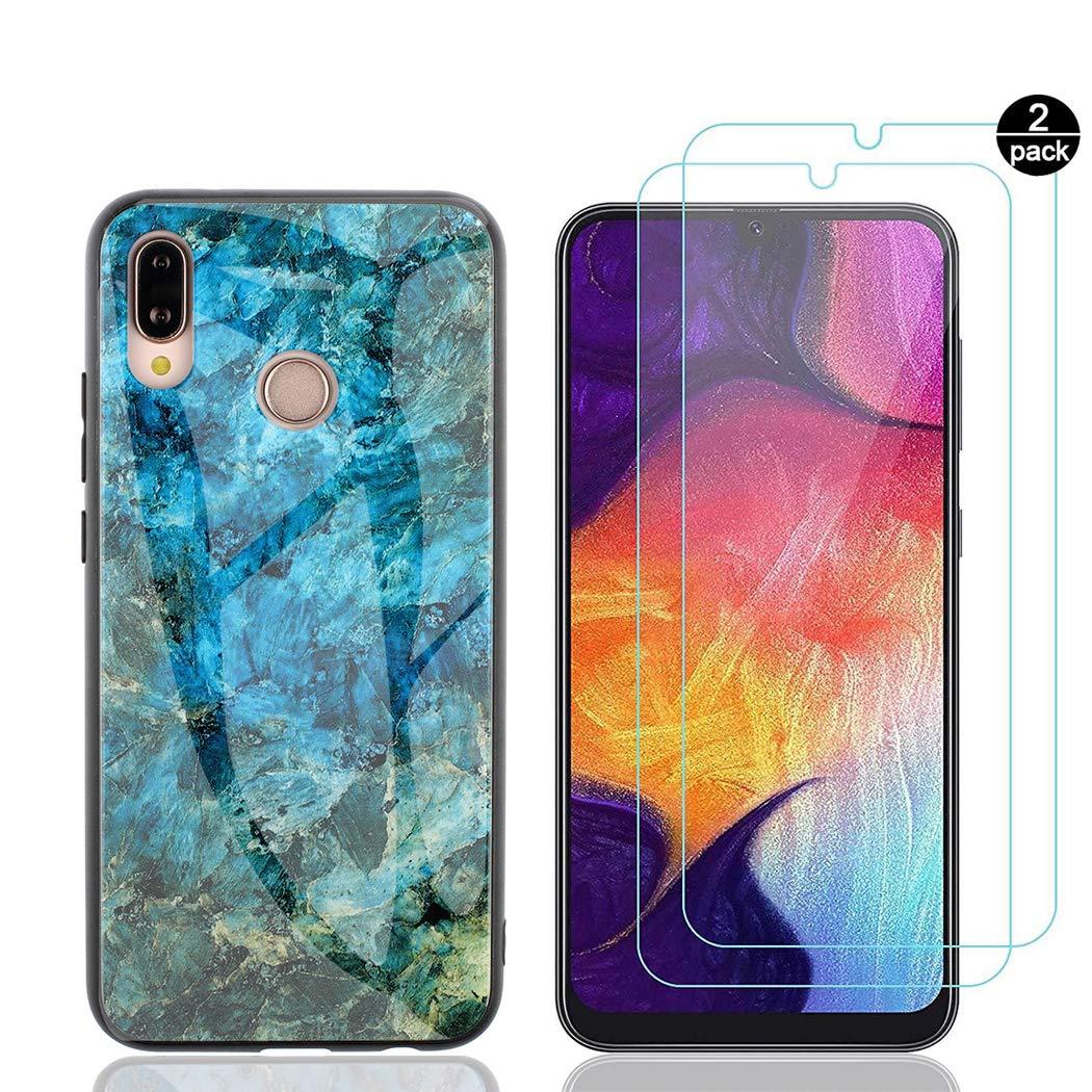 2 Packs Glass CoqueCase Coque pour Huawei P Smart Plus Marbre Silicone /Étui Huawei Nova 3i Antichoc Dur /Étui Housse Anti-Rayures Verre tremp/é Fluorescent Protection Bumper Cover Rouge
