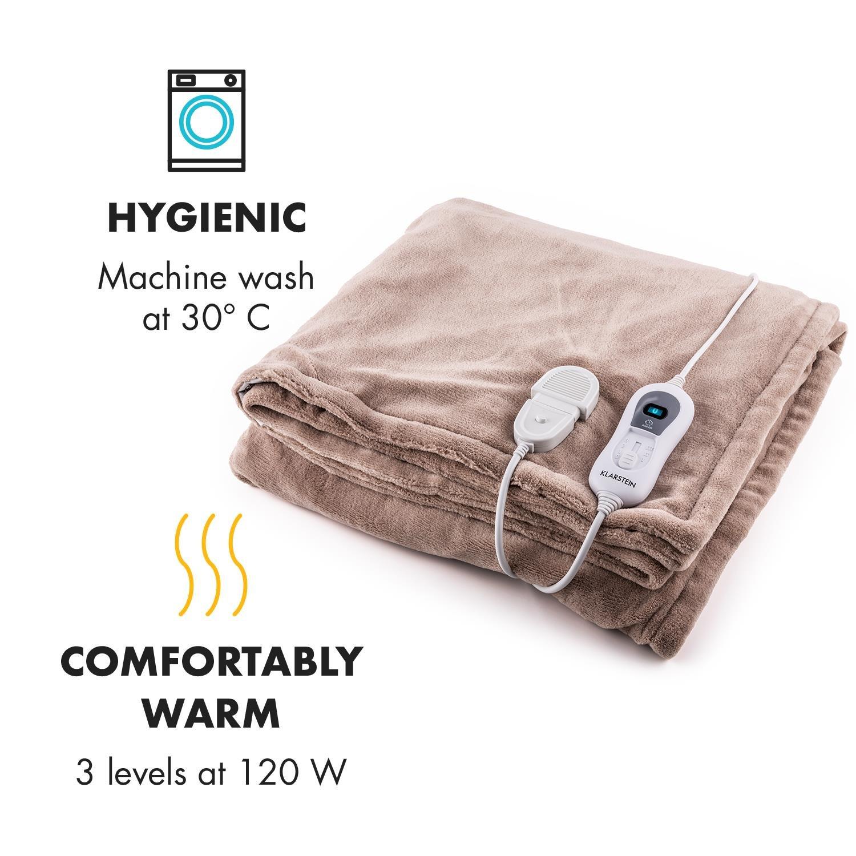 Klarstein Dr. Watson XL • Manta eléctrica • Frazada eléctrica • Calentador de cama • 180 x 130 cm • Potencia 120 W • Apto para lavadora • Microfibra ...