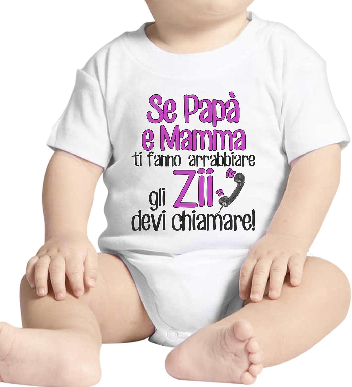 Bianco Body Neonato Fashion Se Ti Fanno Arrabbiare Gli Zii Devi Chiamare Bambina