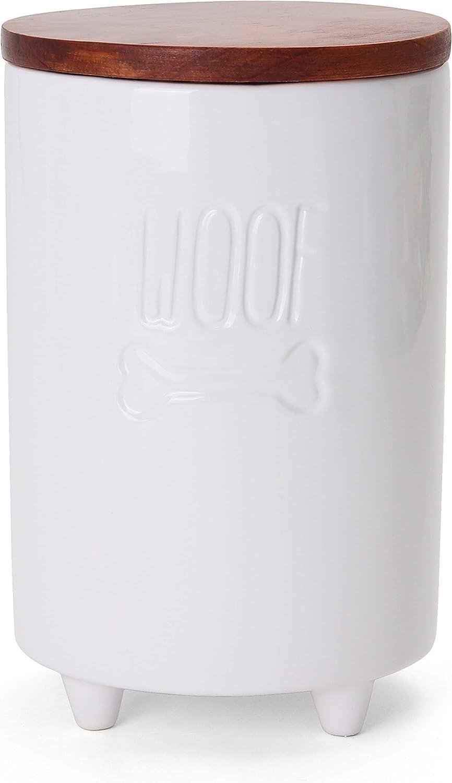 Milltown Merchants Dog Treat Jar - Dog Treat Container w/Lid - Dog Cookie Jar - White Ceramic Jar - Dog Treat Canister - Dog Treat Holder - Dog Food Storage Jar