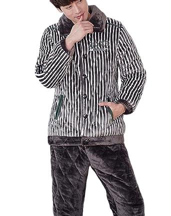 Otoño e invierno terciopelo coral pijamas cálidos de los hombres de moda a rayas ropa de
