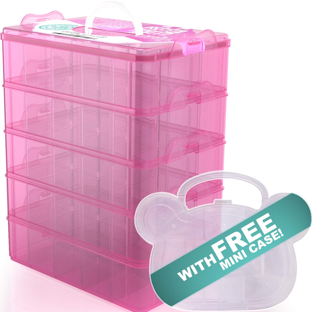Stack Boxx Stackable Organizer and Storage Container (Pink) +Free Case | Be Clutter-Free, Be Happy! 5 Layers w/Handle -Perfect Solution for Kids Toys, Art Crafts, Jewelry, School & Office Supplies