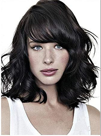 Cool2day@osplay Womens 45cm Long lolita wig Curly Synthetic Hair Party Side bangs Full Wig