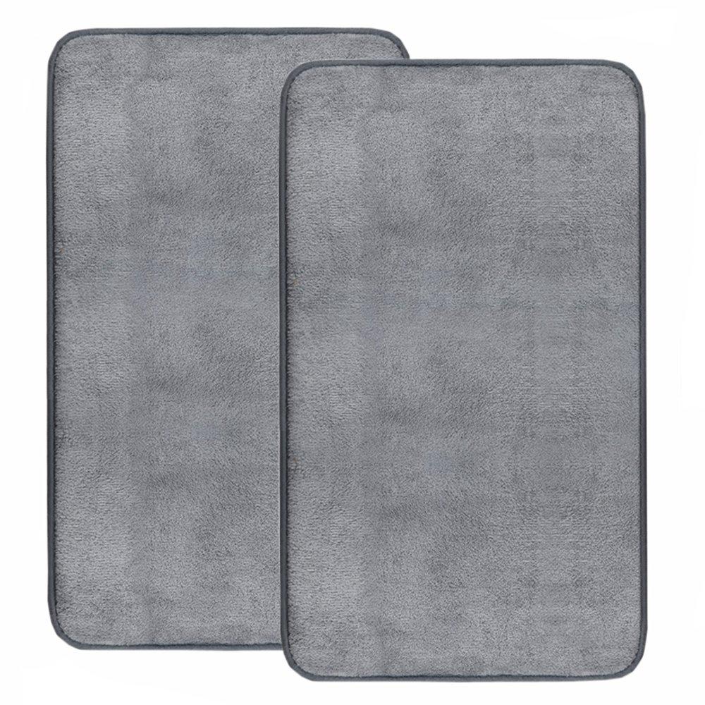 "Set of 2 Bath Mat, 0.8 Inch Thickness Non Slip Thick Super Absorbent Memory Foam Bathroom Mat (L 32"" x W 20"", Gray) Anickal"