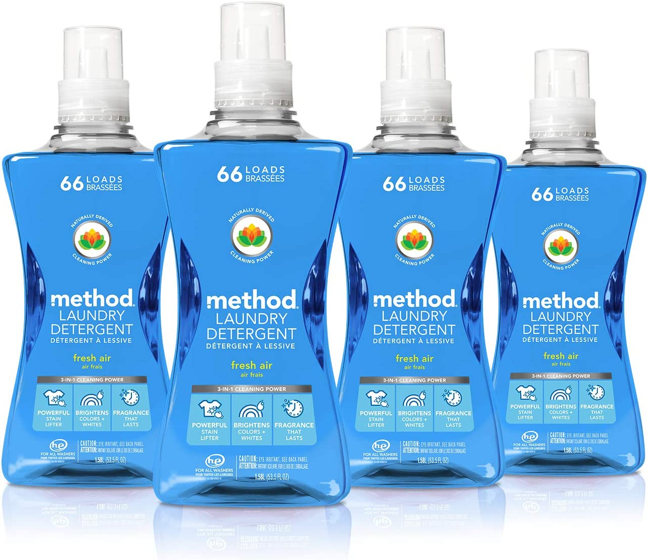 Method Concentrated Laundry Detergent, Naturally Derived, Fresh Air Scent, 264 Loads, 53.5 Fluid Ounce per Bottle, Pack of 4
