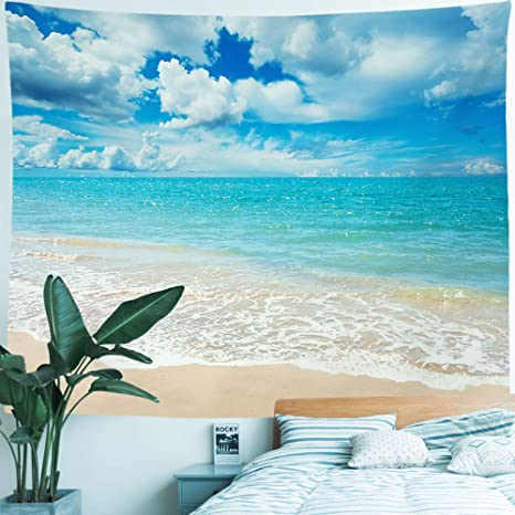 Hiyoo Beach Waves Tapestry Wall Hanging Blue Sky Coulds Nature Tapestry Tropical Ocean Sea Seashore Coast Wall Tapestries Decor For Dorm Bedroom Home Wall Background Pale Blue Water 60 W