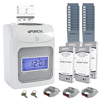 calculating upunch time clock bundle with 200 cards 3 ribbons 2 time card racks - Upunch Time Cards