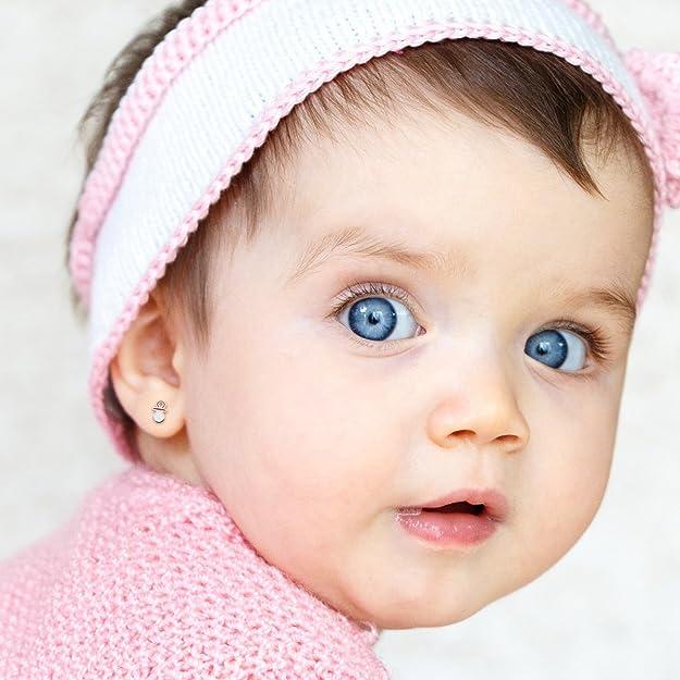 Pendientes bebé niña chupete esmaltado 6 x 4 mm oro bicolor ...