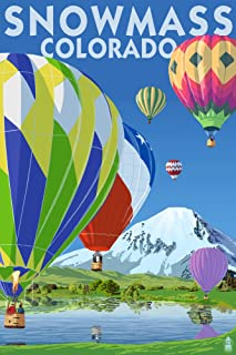 product image for Snowmass, Colorado - Hot Air Balloons 49932 (24x36 Signed Print Master Art Print - Wall Decor Poster)