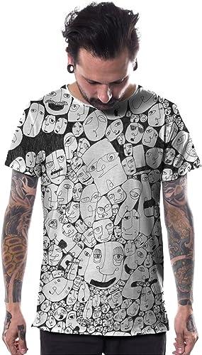 Camiseta Negra Estampada con garabatos de Caras - Ropa Urbana Alternativa para Hombre Talla XXL: Amazon.es: Ropa y accesorios