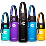 WaterFit Vacuum Insulated Water Bottle - Double Wall Stainless Steel Leak Proof BPA Free Sports Wide Mouth Water Bottle - 12 oz, 16 oz or 20 oz - 5 Colors with Paracord Handle