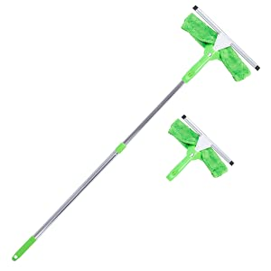 Super Squeegee Window Washer – The Original 3 in 1 Professional Window Squeegee Set - 2 Window Squeegees with Microfiber Scrubbers and Extension Pole – for Windows, Glass, and Auto