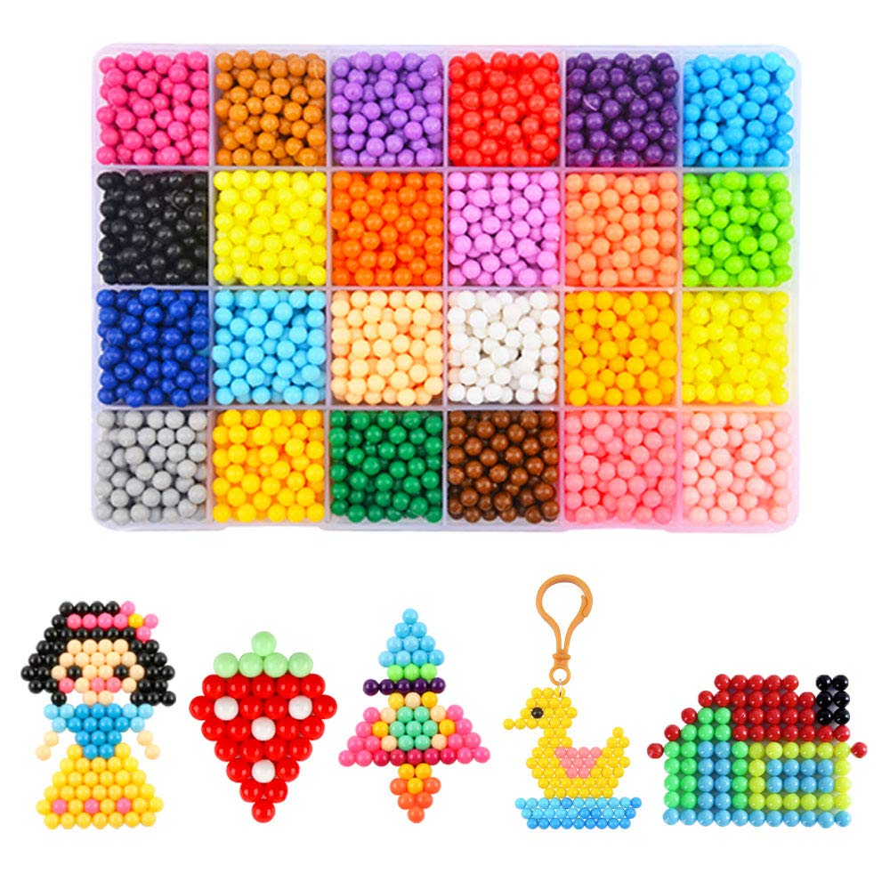 Water Fuse Beads Kit 24 Colors Spray Beads Sticky 3600 Refill Compatible Beads Various Bead Refill for Kids Beginners Activity