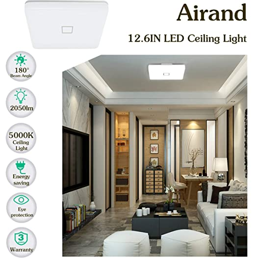 Amazon.com: Lámpara de techo LED de 24 W, Airand de 5000 K ...