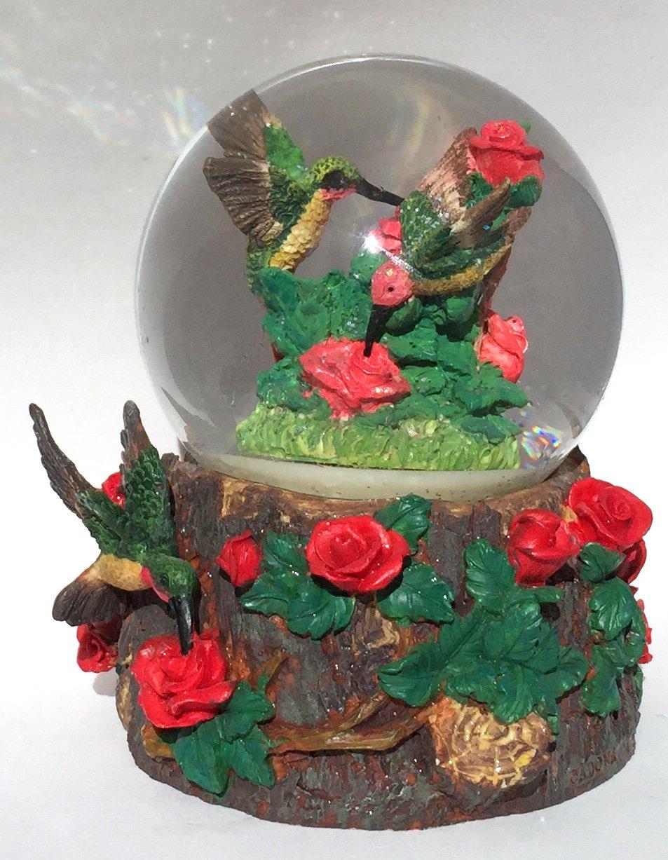 Red Roses Hummingbird Musical Snow Globe Glitterdome