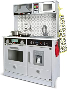 Leomark Grey Modern Cocina eléctrica Madera Infantil con Accesorios: Campana Extractora, microondas, cubitera - Color GRIS- Juguete para Niños Efectos de Sonido de iluminación Dim: 65x30x94 (altura)cm: Amazon.es: Juguetes y juegos