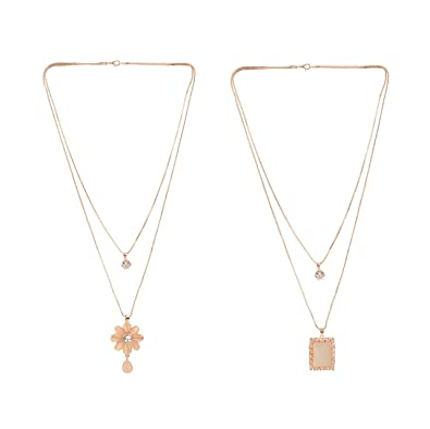 c597817d9b13d Archi Collection Jewellery Rose Gold Plated Designer Fashion Long Chain  Necklace for Women Girls