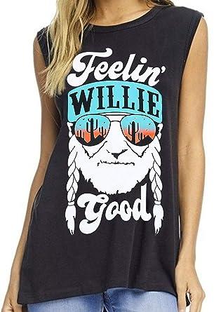 b3755e62 Amazon.com: LUKYCILD Women Feelin' Willie Good Print Tank Top Summer  Sleeveless Casual Graphic Print Vest Top: Clothing