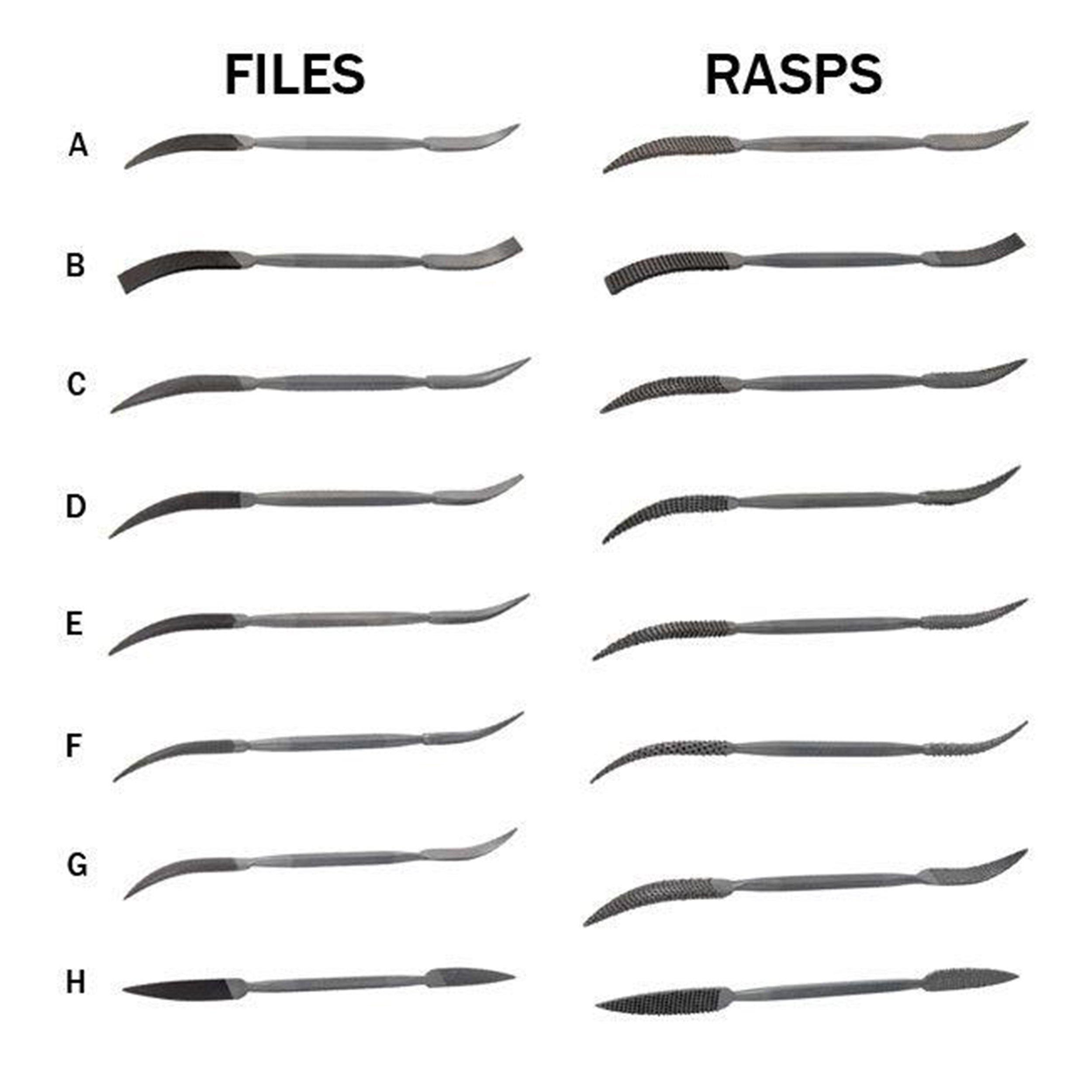 Riffler Files & Rasps, Complete Set of 16