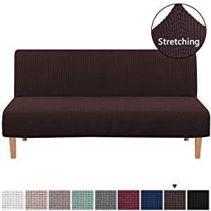 H.VERSAILTEX Stretch Sofa Slipcover Armless Sofa Cover Furniture Protector Without Armrests Slipcover Soft with Elastic Bottom, Polyester Spandex Jacquard Fabric Small Checks(Futon, Chocolate)