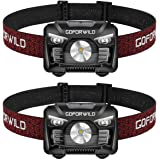 2 Pack of Rechargeable Headlamp, 500 Lumens White Cree LED Head lamp with Red light and Motion Sensor Switch, Perfect for Run