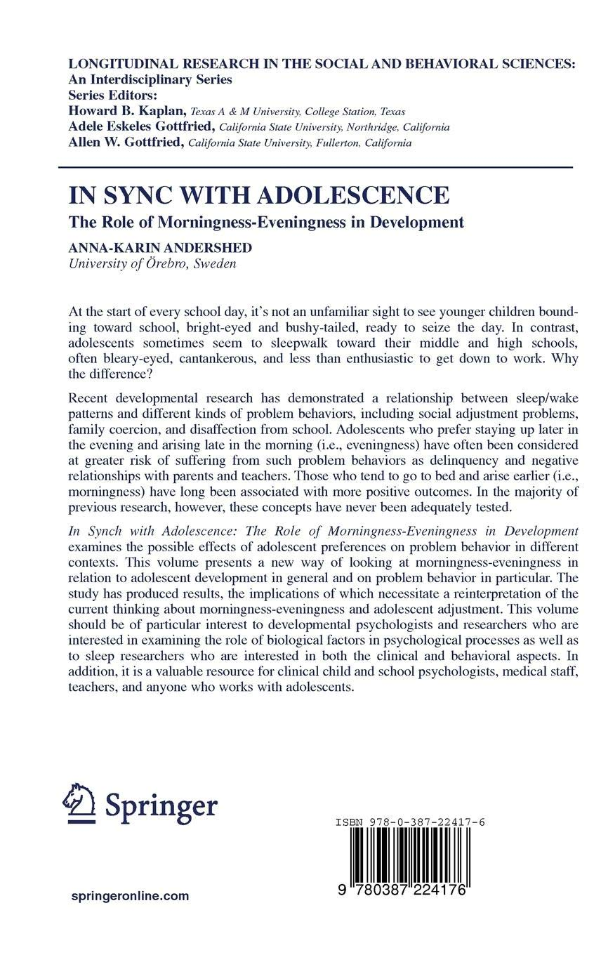 In Sync with Adolescence: The Role of Morningness-Eveningness in Adolescence