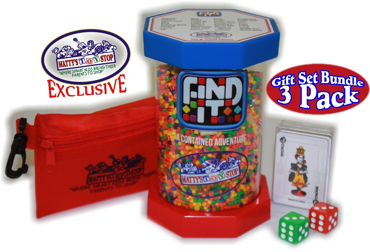 Find It Games Exclusive ''Matty's Toy Stop'' Toy & Travel Edition, Traveler Card & Dice and Cinch Storage Bag Gift Set Travel Bundle - 3 Pack