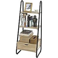 SoBuy® FRG219-N Bibliothèque Étagère Style échelle de 3 Niveaux et 1 tiroir Structure en métal –L44cmxP36cmxH115cm