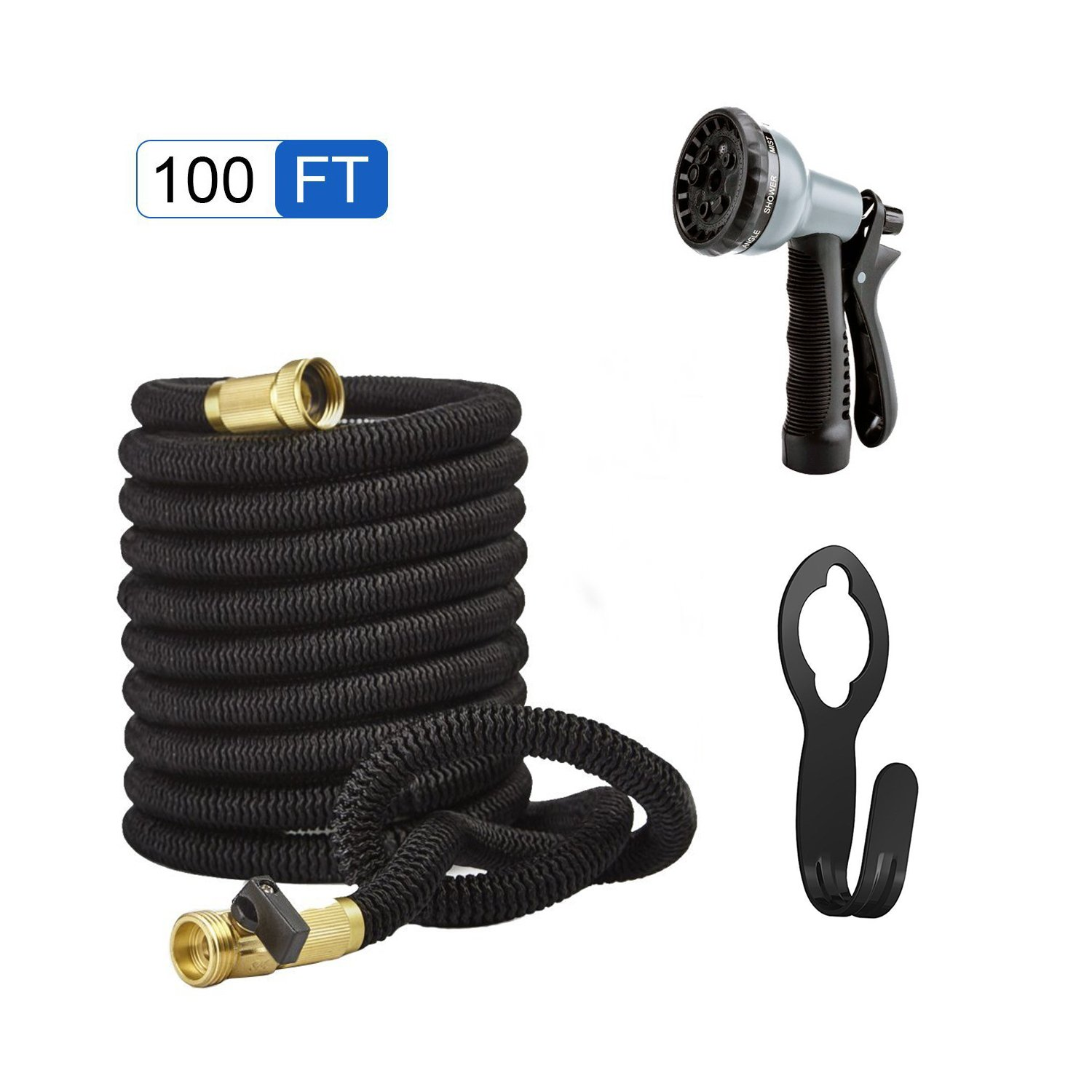 Garden Hose 100ft Expanding Garden Collapsible Flexible Lightweight Hose ,Solid Brass Connectors,Hose Holder and 8 Pattern Spray Nozzle Water Hose Set (Black) (100 Feet)
