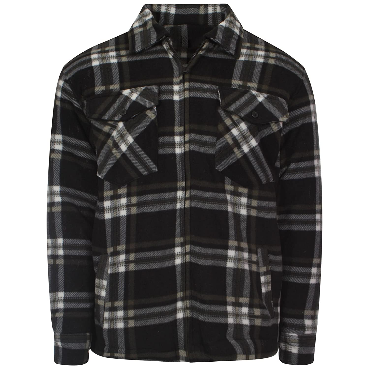 Mens Padded Hooded & Unhooded Fur Lined Thick Fleece Lumberjack ...