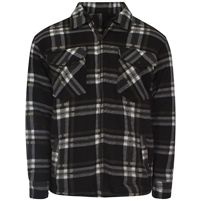 7e678b2865df9 Myshoestore Mens Padded Check Shirt Sherpa Fur Lined Lumberjack Collared  Flannel Quilted Work Jacket Warm Thick