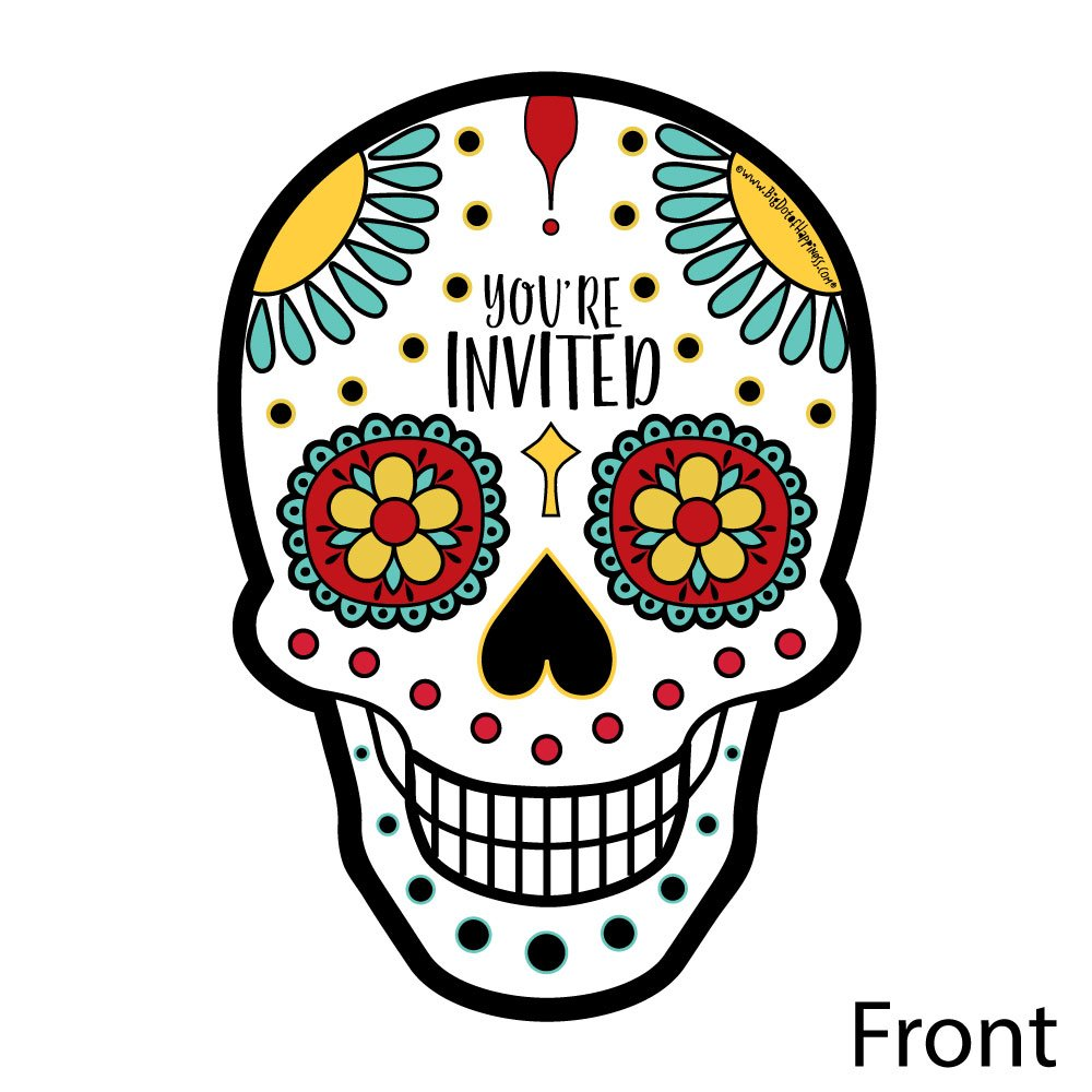 Amazon.com: Day Of The Dead - Shaped Fill-In Invitations - Halloween ...