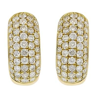 043c98c48fbfe Amazon.com: 18k Yellow Gold Diamond Huggie Earrings (1.70cttw, G-H ...