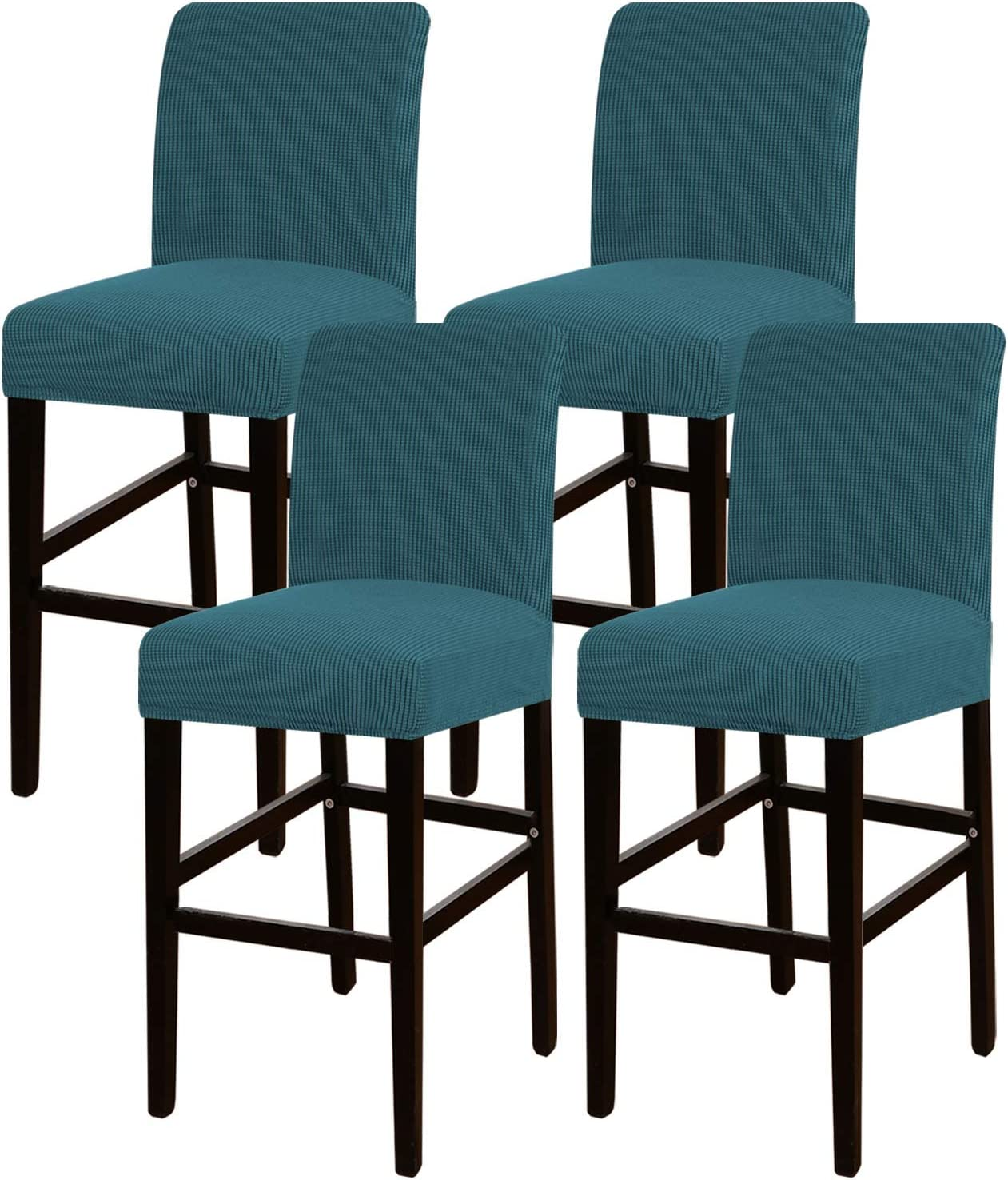 Turquoize Stretch Bar Stool Cover Counter Stool Pub Chair Slipcover for Dining Room Cafe Barstool Slipcover Removable Furniture Chair Seat Cover Jacquard Fabric With Elastic Bottom Set of 4, Deep Teal