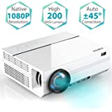 """Projector, ABOX A6 Portable Home Theater 1080p Video Projector, Up to 200"""" Image Display, Built-in HiFi Sound, 50,000 Hour Lamp Life, Supports HDMI, USB, SD Card, VGA, AV"""