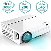 "Projector, ABOX A6 Portable Home Theater 1080p Video Projector, Up to 200"" Image Display, Built-in HiFi Sound, 50,000 Hour Lamp Life, Supports HDMI, USB, SD Card, VGA, AV"