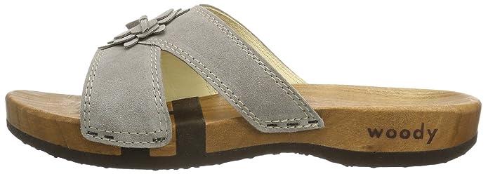 Anika 13221/73 - Zuecos de cuero para mujer, color gris, talla 37 Woody
